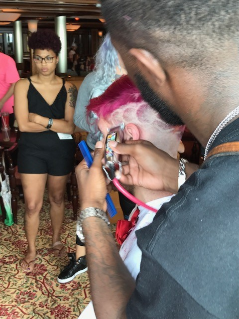 Keon teaching us his magic on the Hairstylist cruise 2016.