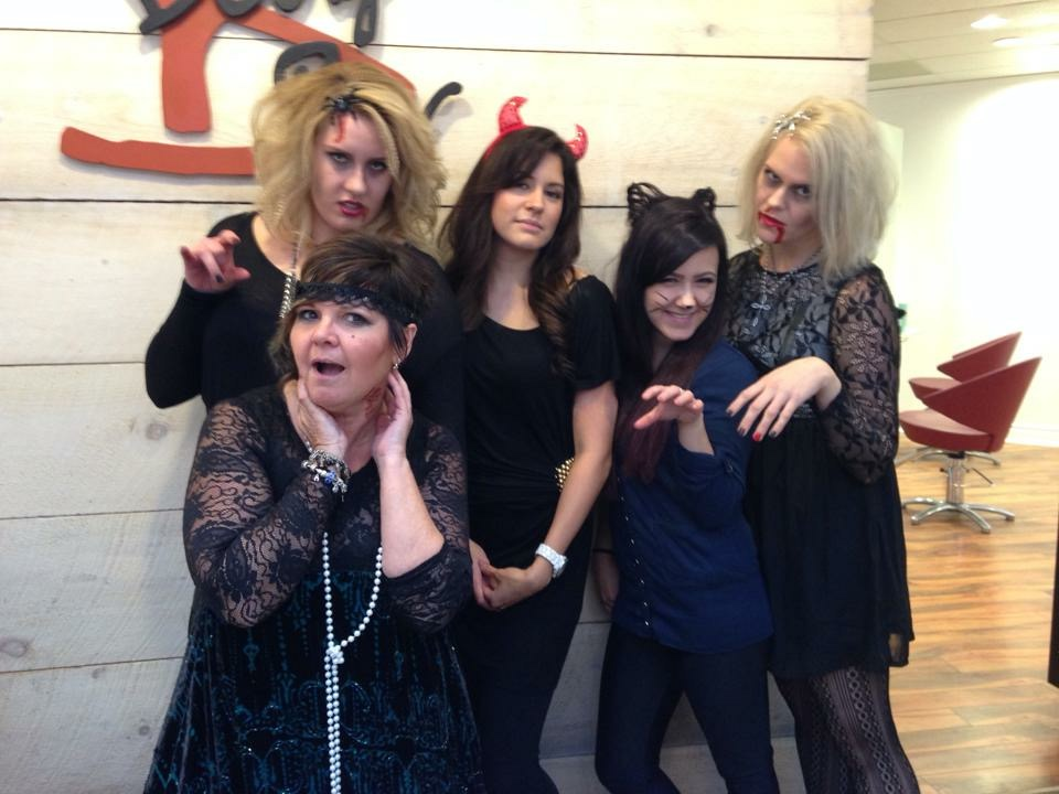 Team Pic of Halloween at the salon.
